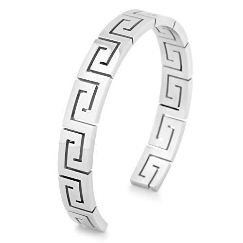 Akitsune Argius Mäander Armreif | Griechisch Antik Armschmuck Frauen Herren Edelstahl Armband Cuff - Silber 55mm