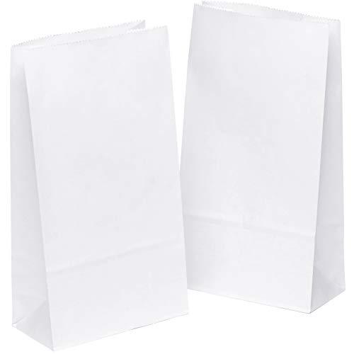 kgpack 50 Stk. Papiertüten klein 12 x 22 x 6 cm Bodenbeutel, auch, Obstbeutel, Mitgebseltüten, Butterbrottüten, Süßigkeiten, Geschenkverpackung, Gastgeschenke Tüten aus Weiß Kraft Geschenkpapier