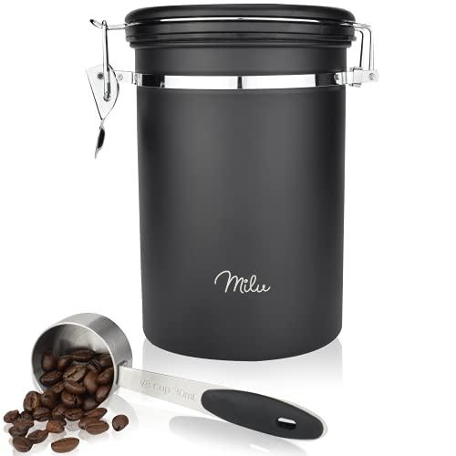 Milu Kaffeedose luftdicht   500g, 700g   Kaffeebohnen Behälter Edelstahl Vorratsdosen Vakuum Kaffeebox mit Kaffeelöffel (Schwarz, 700g)