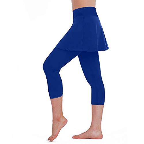 Gonna Casual da Donna Leggings Pantaloni da Tennis Sport Fitness Culottes ritagliati (XL,2Blu)