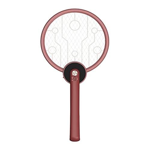 Dreh- Und Faltbare Elektrische Fliegenklatsche, Wiederaufladbarer Mückenschläger, Mit Mückenschutzlampe, 3-lagigem Touch Mesh, USB-ladekabel - Tötet Mücken Und Fliegen Einfach Ab(2pack) (Ziegelrot)