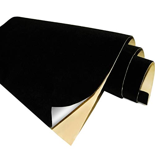 Black Self Adhesive Velvet Fabric Sticky Felt Sheets for Art & Crafts, Jewelry Box, Drawer Liners- 2PCS x (17.3' x 39.3')