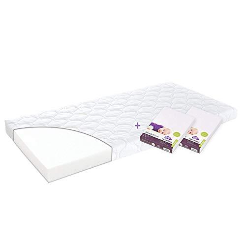 Träumeland Set Matratze Softwash 60 x 120 + 2 Spannbetttücher Jersey weiß