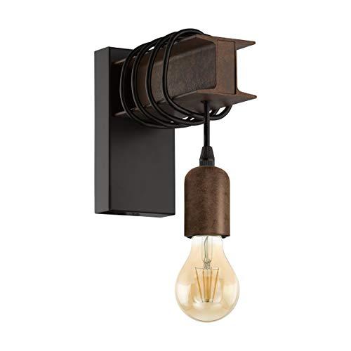 EGLO Wandlampe Townshend 4, 1 flammige Vintage Wandleuchte im Industrial Design, Retro Lampe aus Stahl, Farbe: Schwarz, braun, Fassung: E27