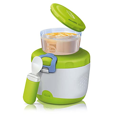 Chicco Contenitore Termico PortaPappa System Easy Meal, Contenitore Termico per Alimenti, Set con 2 Contenitori e Cucchiaio da Viaggio, Mantiene la Temperatura fino a 6 Ore, senza BPA - 6+ Mesi, Verde