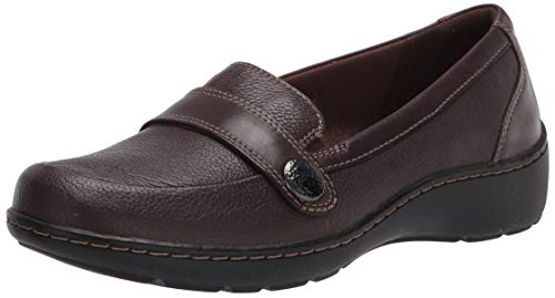Clarks Women's Cora Daisy Loafer, Brown Tumbled Leather, 9