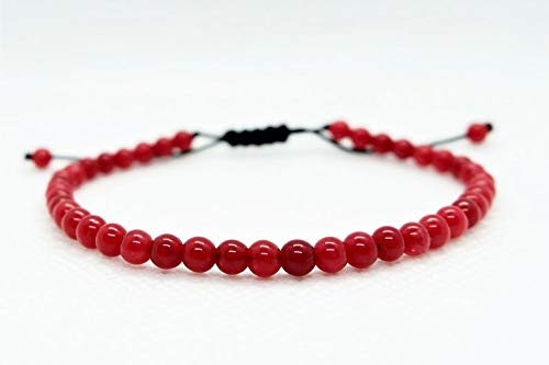 Coral rojo natural cuentas lisas de forma redonda de 6 mm enhebradas con pulsera de shamballa de hilo de color negro para hombres y mujeres. Regalo para él / ella, curación, prosperidad.