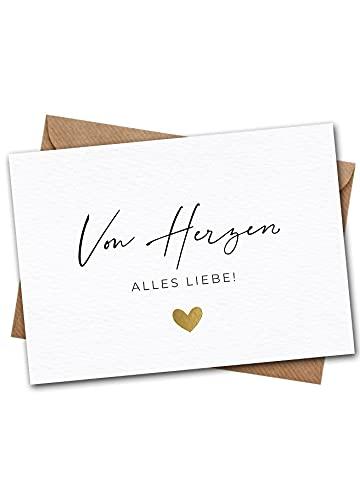 Jolicoon Hochzeitskarte - Von Herzen alles Liebe - A6 mit Naturkuvert - Klimaneutral hergestellt