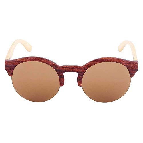 NNAA Gafas de sol Las más nuevas gafas de sol de bambú redondas sin montura para hombres y mujeres Gafas de madera Lente de espejo retro Uv400