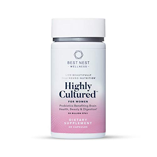 Highly Cultured Probiotics and Prebiotics for Women, 50 Billion CFU, 13 Strains, Patented Delayed Released Capsules, Once Daily Probiotic Supplement, Immune Support, 30 Count, Best Nest Wellness