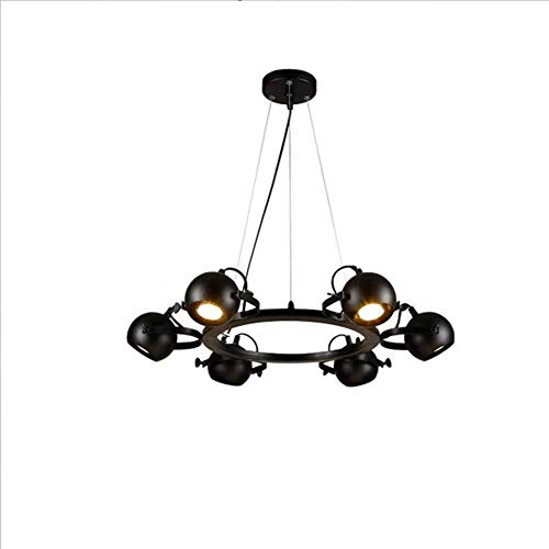Suspension Luminaire LED rétro industrielle plafonnier 6 lumières plafonniers Spots vintage Lustre réglable en hauteur Salon Salle à manger lampa à suspension intérieur Ø 66 * 10 CM Noir