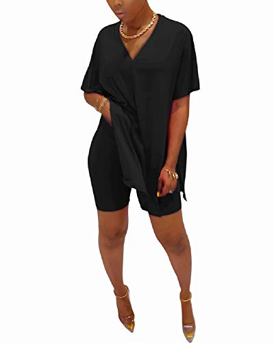 Women Casual Oversized Two Piece Outfits Batwing Sleeve Split Caftan Poncho Tops Shorts Set Tracksuit Jumpsuit Black XXL