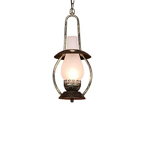 Lyuez glazen lampenkap hanger kroonluchter vintage smeedijzeren petroleumlamp E27 Retro plafondlamp bar restaurant café keuken decoratie kroonluchter