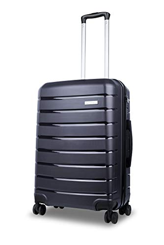 Roma Durable Hard Shell Luggage (Blue) 24 Inch Medium Spinner Suitcase, 61 cm, 4 Wheels, M Suitcase with a 5 Year Warranty