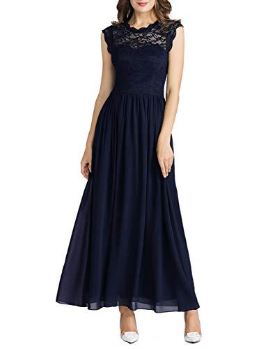 MuaDress 6056 Damen Retro Floral Lace Brautjungfernkleider Rüschen Hochzeit Maxi Kleid Marineblau XXL