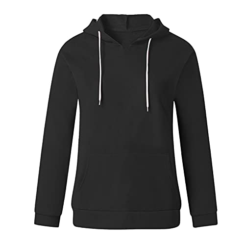 Uqiangy Hoodie Womens Classic Basic Hooded Athletic Top Lady Lightweight Casual Sweatshirt Blouse With Pocket,Multicolor (A-Black, 12)