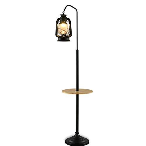 Floor Lamp Retro Nostalgic Floor Lamp Home Metal Living Room Standing Floor Light Lantern with Wooden Shelves 165cm Floor Lamp Reading Light for Office Bedroom Reading Standing Lamp