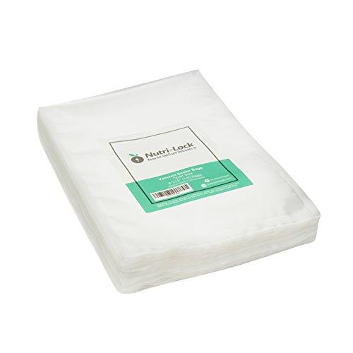 Bolsas de sellado al vacío Nutri-Lock. Bolsas de 100 cuartos de galón de 20 x 12 pulgadas. Bolsas de calidad comercial. Funciona con FoodSaver y Sous Vide. Sin BPA.
