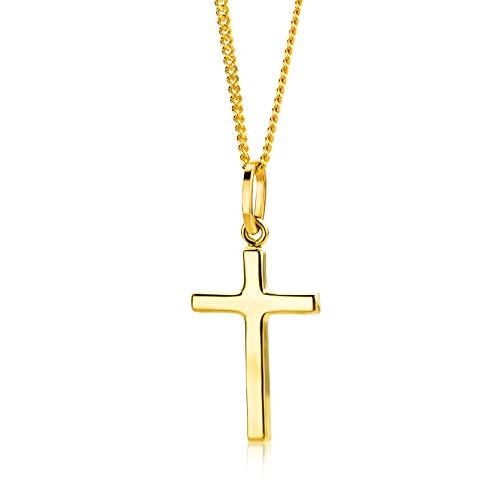 Orovi Collar Señora Cruz con cadena en Oro Amarillo Oro 9 Kt / 375 Cadena 45 Cm