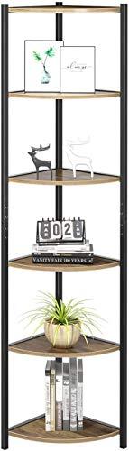 HOMECHO Eckregal Bücherregal mit 6 Ablagen Standregal Leiterregal Pflanzenregal aus Metall und Holz Küchenregal für Wohnzimmer Büro Balkon Industrie Design Braun 33,7×33,7×165cm (Hellbraun)