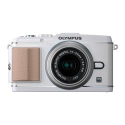 Olympus E-P3 Systeemcamera (12 megapixels, 7,6 cm (3 inch) display, beeldstabilisator, Full-HD video) Kit, Dubbele kit (14-42 mm en 40-150 mm objectief), wit, 14-42mm und 40-150mm Objektive
