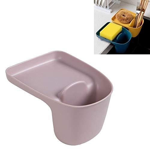 XGQ 5 cestas de almacenamiento para fregadero de cocina con ventosa para suministros de cocina (color rosa claro)