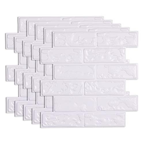 Viudecce 12 Piezas 3D Pegatina de Pared de Ladrillo Autoadhesivo Impermeable PVC Papel de Pared para BaaO Pegatinas de Cocina una Prueba de Aceite DIY Hogar B