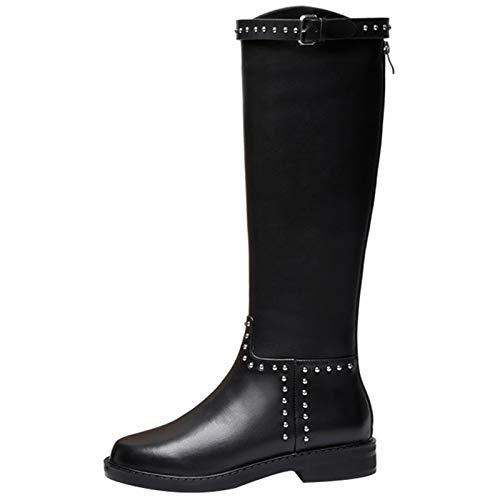 Shinelyf Cuero Botas Mujer Largo Boots con Remache Buena Elasticidad hasta La Rodilla Fáciles De Poner Forro Cálido Rigida Y Ligera,Black Without Velvet,38