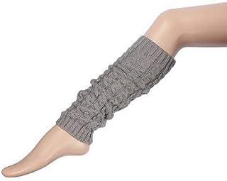 DIVISTAR, DIVISTAR Mujer Dama Moda Rodilla Calcetines de Pierna Alta Banket Invierno Punto Crochet Warmer Legging (Gris Claro)