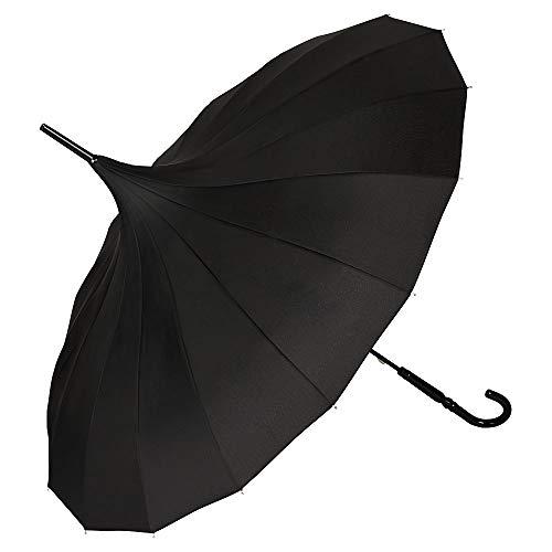 VON LILIENFELD Regenschirm Hochzeitsschirm Sonnenschirm Stabil Stockschirm Pagode Charlotte schwarz