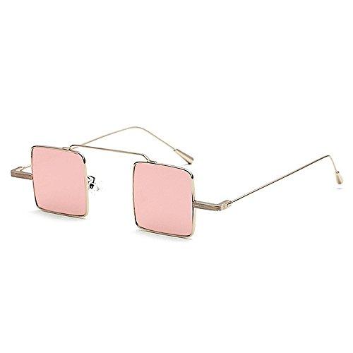 GWF Kleine vierkante lens zonnebril voor vrouwen mannen unisex metaal ingelijste zonnebril retro persoonlijkheid omrande stijlvolle zonnebril roze
