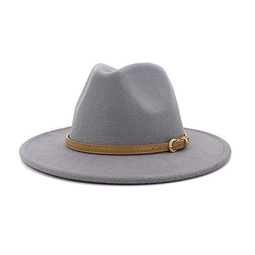 no-branded Sombrero Fedora para hombre y mujer, sombrero de algodón y piel, para caballero, elegante, para otoño e invierno, sombra, jazz, iglesia, panamá, color gris, tamaño: 59-60 cm)