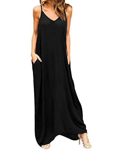 Style Dome Women's Summer Casual Plain V-Neck Flowy Loose Beach Cami Dress Pockets Sundress Black L