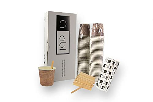 Scatola di Bicchieri Caffe Biodegradabili e Palette in Legno - Bicchieri Monouso Compostabili, 100Pezzi, 100ml