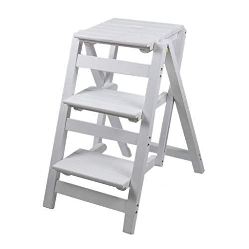 HUAXUE ZHXZHXMY Simple Family Stool 3 Madera for Adultos Escalera Plegable Taburete del Asiento de la Planta de Escalera en Forma de Soporte for el Salón Dormitorio Balcón Jardín Zapatero Blanca