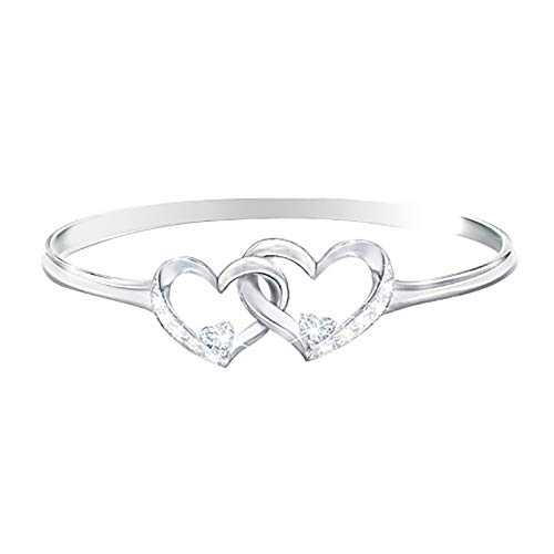 Double Love Heart Shaped Ring Crystal Diamond Ring Engagement Ring Cocktail Party Band Ring Clear Crystals Ring Jewelry for Women Clear Crystals Eternal Ring Decor
