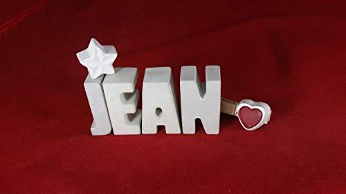Beton, Steinguss Buchstaben 3D Deko Namen JEAN mit Stern und Herzklammer als Geschenk verpackt! Ein ausgefallenes Geschenk zur Geburt, Taufe, Geburtstag, Namenstag oder auch zu Weihnachten!