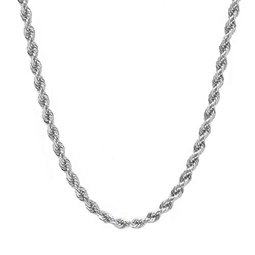 Verona Jewelers 2MM-5MM Stainless Steel Twist Rope Chain for Men and Women, Stainless Steel Necklace, Twist Rope Necklace, (4mm,18
