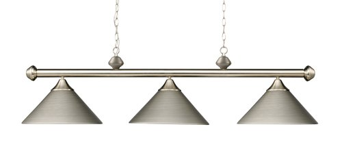 Elk 168-Sn Casual Traditions 3-Light Billiard Light, 15-Inch, Satin Nickel With Metal Shades