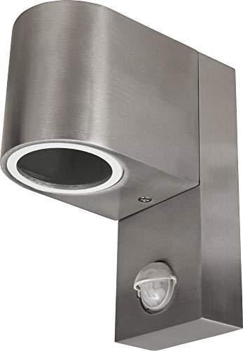 Aluminium wandlamp met bewegingsmelder IP44 GU10 - roestvrij staal