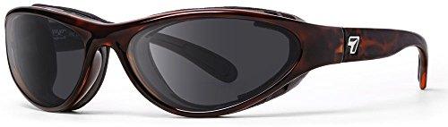 7eye by Panoptx Viento - Gafas de sol con bloqueo de viento, lentes grises polarizadas + motocicleta equitación, ciclismo, ojos secos, pesca, deportes al aire libre