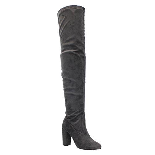 Bella Marie AE69 Women's Inside Zipper Wrapped Block Heel Over Knee High Boots Grey