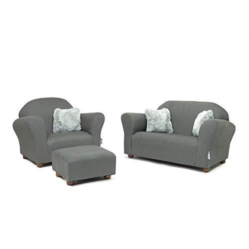 Keet Plush Childrens Set, Sofa, Chair and Ottoman, Charcoal/Grey