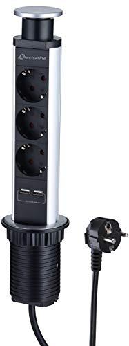 Electraline 62557 Multipresa Tower da Scrivania/Tavolo a Incasso e a Scomparsa, 3 Prese 2 USB 2.4A, Cavo 2m, Spina Schuko, Corpo in Alluminio, Diametro Standard 60mm, Nero, 3 Fach einziehbar