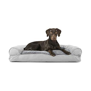 Furhaven Pet Plush & Suede Pillow Sofa Pet Bed, Gray, Large