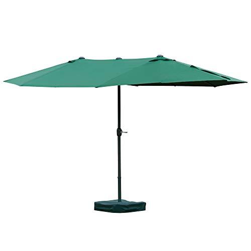 Outsunny Sonnenschirm Gartenschirm Marktschirm Doppelsonnenschirm Terrassenschirm mit Schirmständer Handkurbel Dunkelgrün Oval 460 x 270 x 240 cm