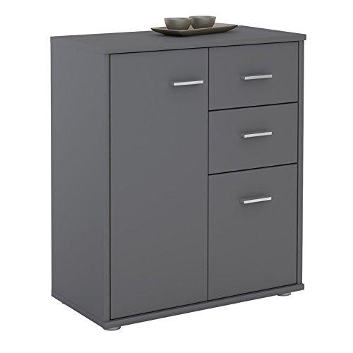 CARO-Möbel Kommode Locarno Highboard Bürokommode mit 2 Schubladen und 2 Türen in grau anthrazit