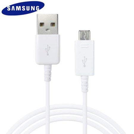 Samsung Genuine White ECB-DU4EWE Galaxy USB Data Cable Galaxy S2 S3 S4 S6 A3 (2016), A5 (2016), J1 J5 J7, Note 2 & Other Micro Ports (No Retail Packaging - Bulk Packaged)