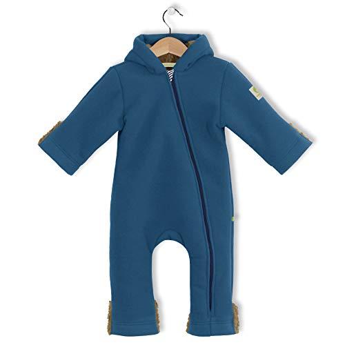 Made in Germany - Unisex Baby Mädchen Jungen Herbst Winter Anzug Overall Einteiler Jumpsuit Onepiece Onesie, Fleece Overall, Tec Doublefleece, Reissverschluss mit Kinnschutz (86-92, jeansblau)