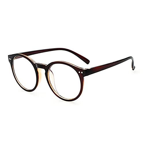 Powzz ornament Gafas redondas con montura para mujer y hombre, anteojos transparentes Retro Vintage para mujer, con montura metálica, gafas, gafas transparentes, té